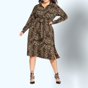 NWT City Chic Midi Animal Print Dress Sz 22